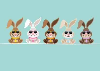 5 Cute Rabbits Sunglasses Retro DIN