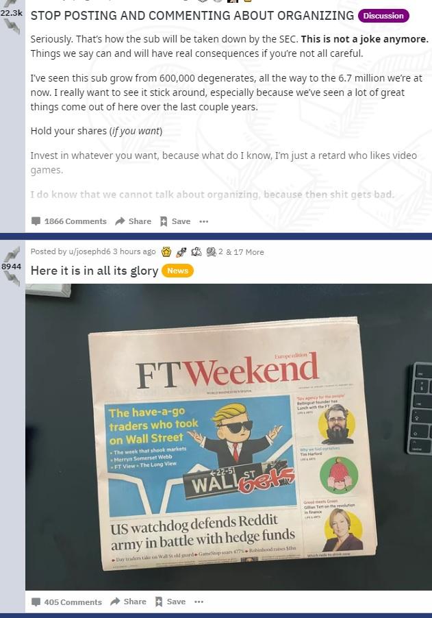 Screenshot wsb vom Wochenende